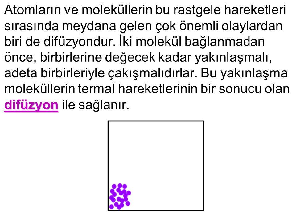 difüzyon Atomların ve moleküllerin bu rastgele hareketleri sırasında meydana gelen çok önemli olaylardan biri de difüzyondur. İki molekül bağlanmadan