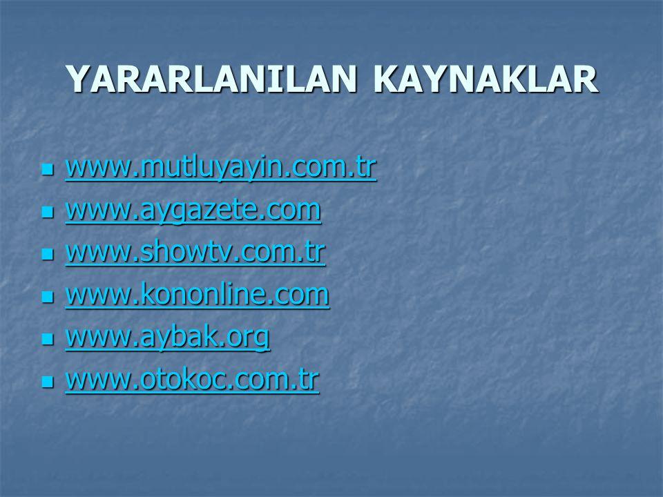 YARARLANILAN KAYNAKLAR www.mutluyayin.com.tr www.mutluyayin.com.tr www.mutluyayin.com.tr www.aygazete.com www.aygazete.com www.aygazete.com www.showtv