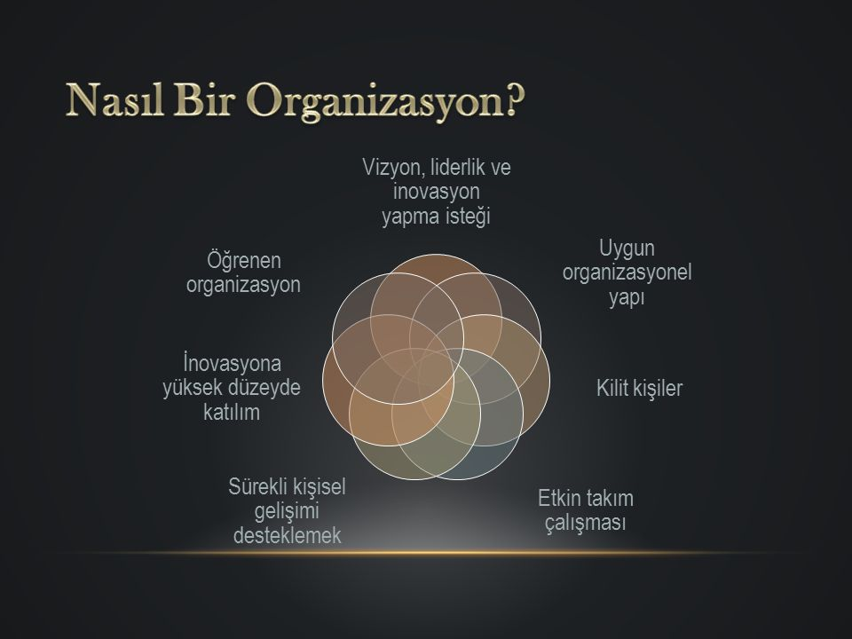 Vizyon, liderlik ve inovasyon yapma isteği Uygun organizasyonel yapı Kilit kişiler Etkin takım çalışması Sürekli kişisel gelişimi desteklemek İnovasyo