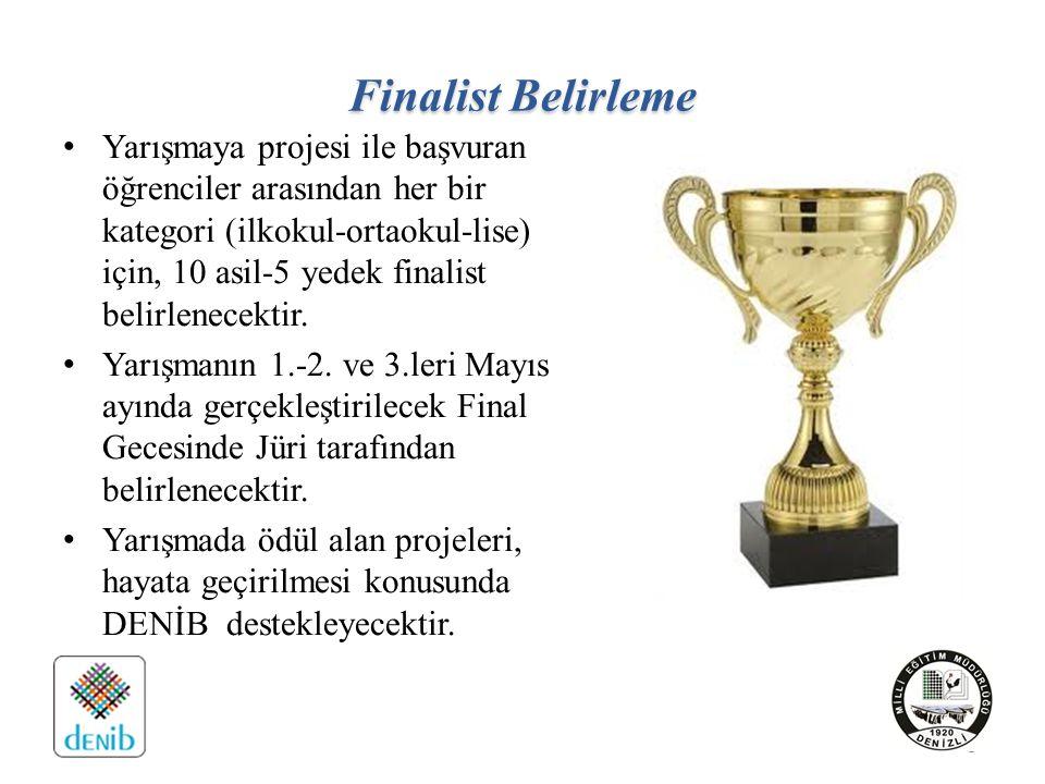 Finalist Belirleme Yarışmaya projesi ile başvuran öğrenciler arasından her bir kategori (ilkokul-ortaokul-lise) için, 10 asil-5 yedek finalist belirlenecektir.