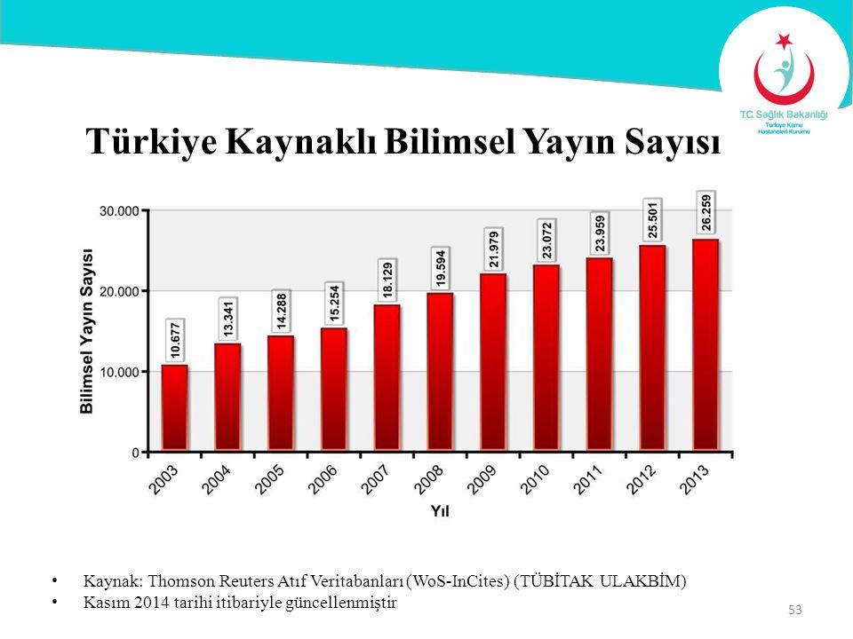 Türkiye Kaynaklı Bilimsel Yayın Sayısı Kaynak: Thomson Reuters Atıf Veritabanları (WoS-InCites) (TÜBİTAK ULAKBİM) Kasım 2014 tarihi itibariyle güncell