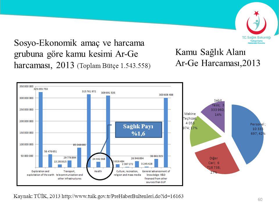 Kaynak: TÜİK, 2013 http://www.tuik.gov.tr/PreHaberBultenleri.do?id=16163 60 Sosyo-Ekonomik amaç ve harcama grubuna göre kamu kesimi Ar-Ge harcaması, 2
