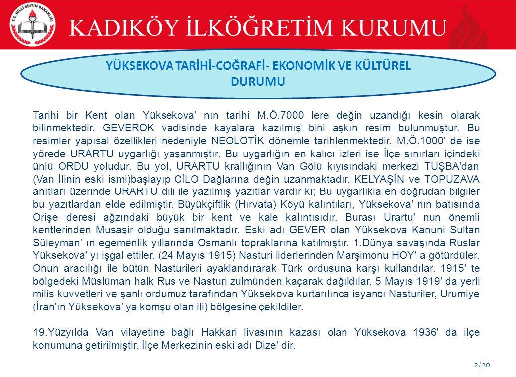 2/20 YÜKSEKOVA TARİHİ-COĞRAFİ- EKONOMİK VE KÜLTÜREL DURUMU Tarihi bir Kent olan Yüksekova' nın tarihi M.Ö.7000 lere değin uzandığı kesin olarak bilinm