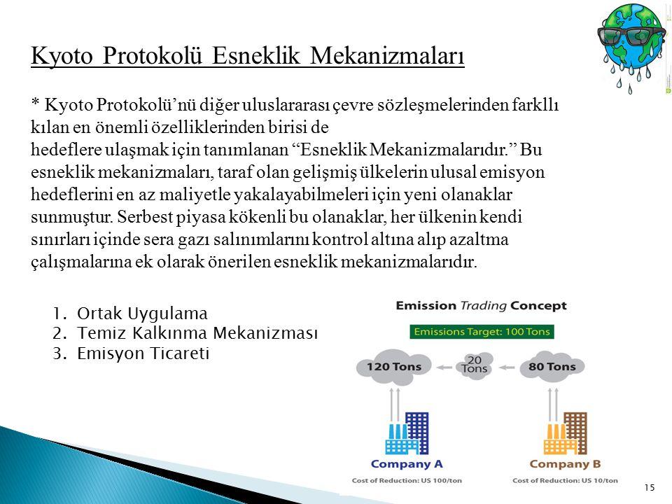 15 Kyoto Protokolü Esneklik Mekanizmaları * Kyoto Protokolü'nü diğer uluslararası çevre sözleşmelerinden farkllı kılan en önemli özelliklerinden biris