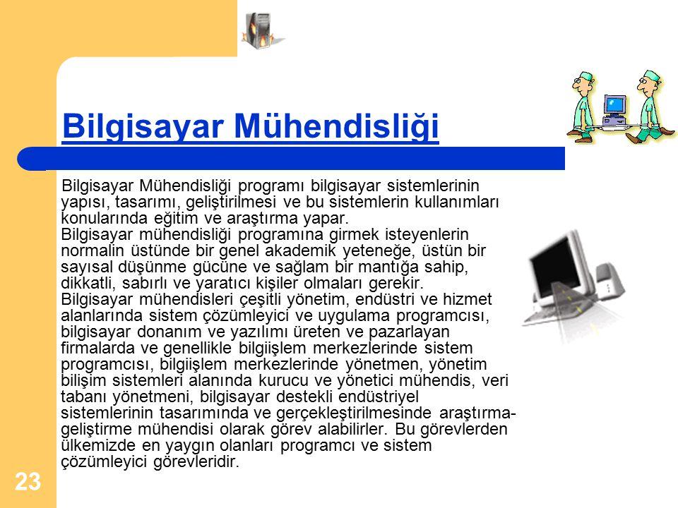 23 Bilgisayar Mühendisliği Bilgisayar Mühendisliği programı bilgisayar sistemlerinin yapısı, tasarımı, geliştirilmesi ve bu sistemlerin kullanımları k