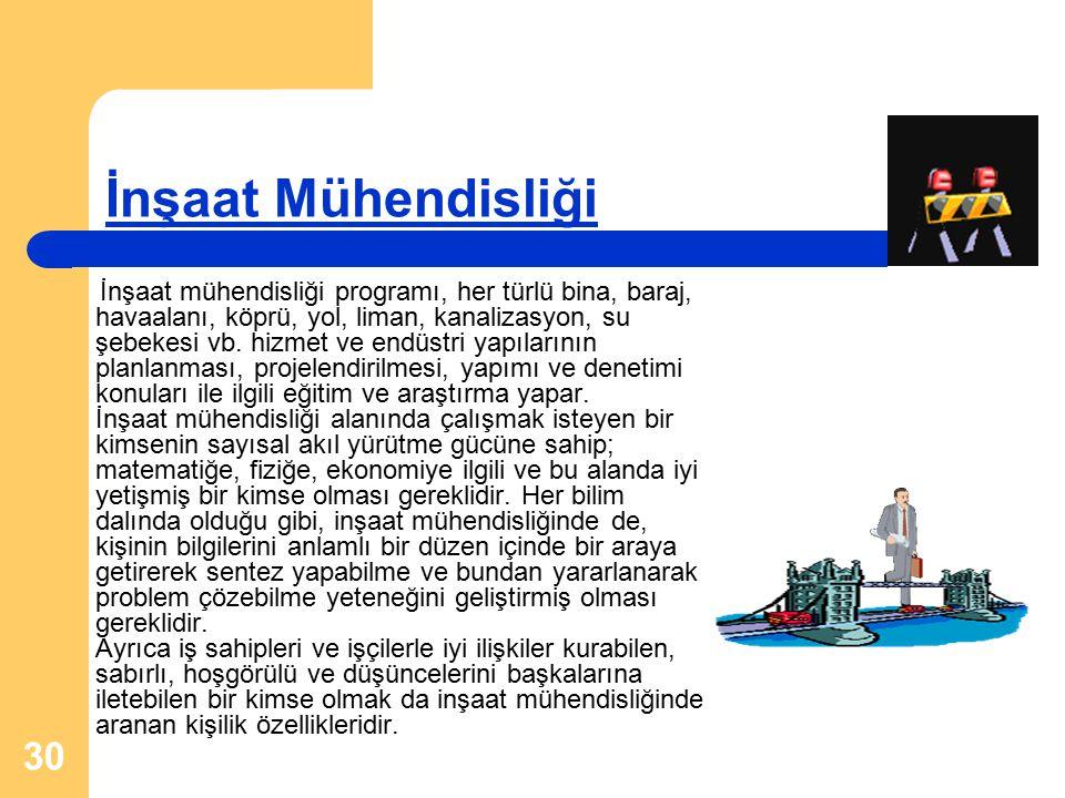 30 İnşaat Mühendisliği İnşaat mühendisliği programı, her türlü bina, baraj, havaalanı, köprü, yol, liman, kanalizasyon, su şebekesi vb. hizmet ve endü