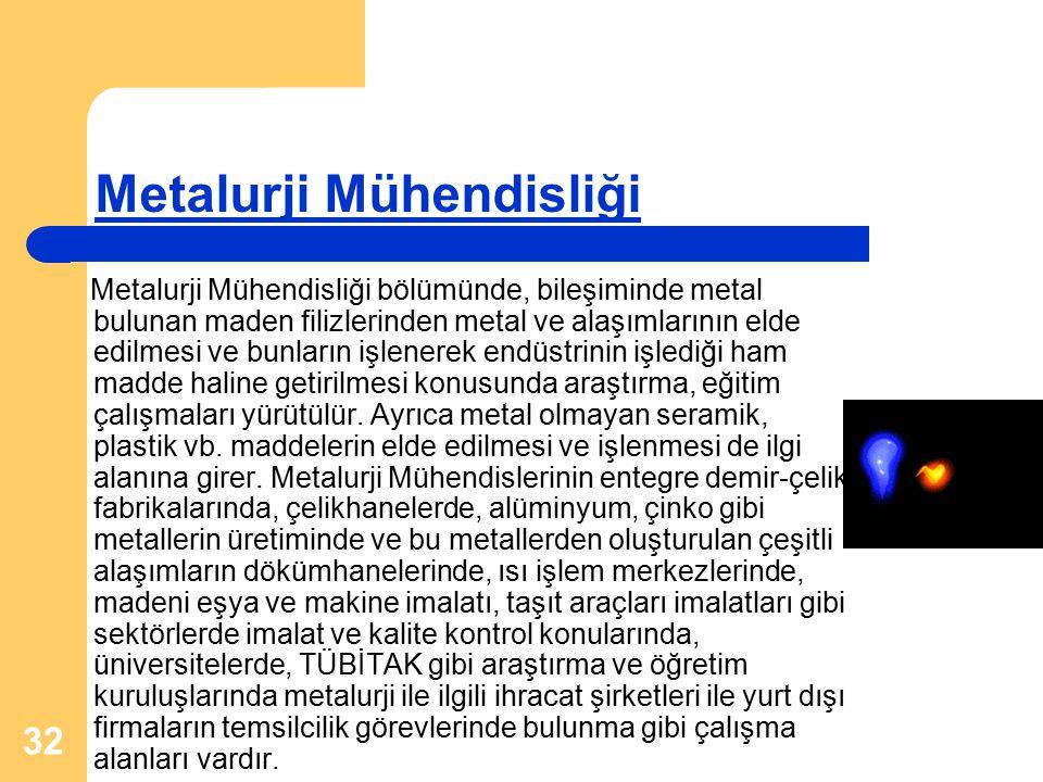 32 Metalurji Mühendisliği Metalurji Mühendisliği bölümünde, bileşiminde metal bulunan maden filizlerinden metal ve alaşımlarının elde edilmesi ve bunların işlenerek endüstrinin işlediği ham madde haline getirilmesi konusunda araştırma, eğitim çalışmaları yürütülür.