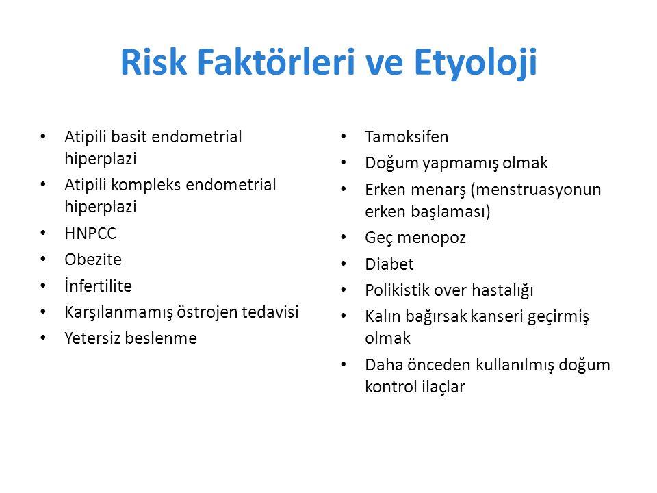 Risk Faktörleri ve Etyoloji Atipili basit endometrial hiperplazi Atipili kompleks endometrial hiperplazi HNPCC Obezite İnfertilite Karşılanmamış östrojen tedavisi Yetersiz beslenme Tamoksifen Doğum yapmamış olmak Erken menarş (menstruasyonun erken başlaması) Geç menopoz Diabet Polikistik over hastalığı Kalın bağırsak kanseri geçirmiş olmak Daha önceden kullanılmış doğum kontrol ilaçlar