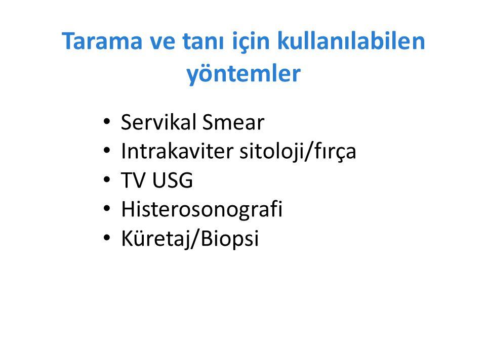 Tarama ve tanı için kullanılabilen yöntemler Servikal Smear Intrakaviter sitoloji/fırça TV USG Histerosonografi Küretaj/Biopsi