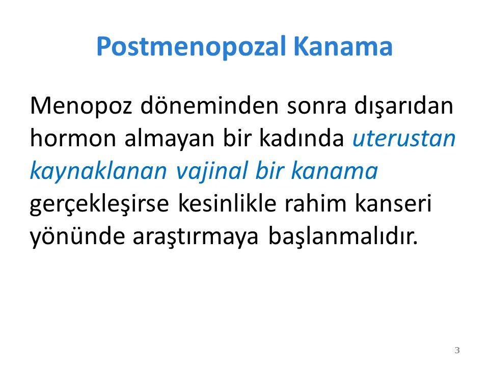 Postmenopozal Kanama Menopoz döneminden sonra dışarıdan hormon almayan bir kadında uterustan kaynaklanan vajinal bir kanama gerçekleşirse kesinlikle rahim kanseri yönünde araştırmaya başlanmalıdır.