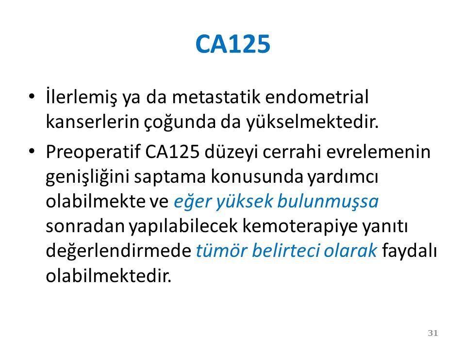 CA125 İlerlemiş ya da metastatik endometrial kanserlerin çoğunda da yükselmektedir.