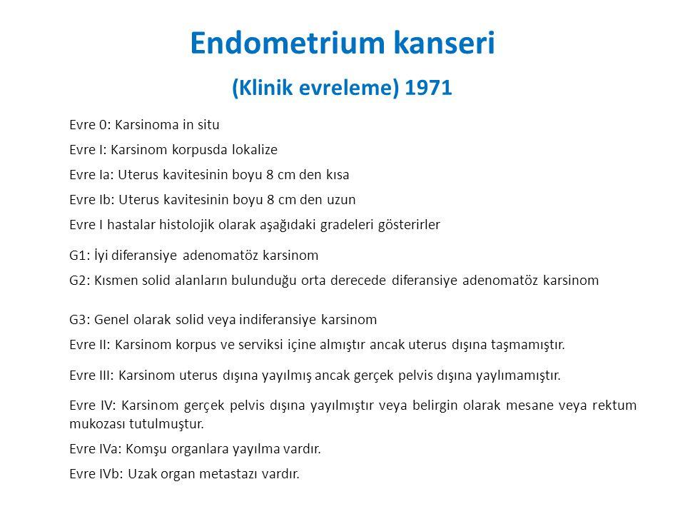 Endometrium kanseri (Klinik evreleme) 1971 Evre 0: Karsinoma in situ Evre I: Karsinom korpusda lokalize Evre Ia: Uterus kavitesinin boyu 8 cm den kısa Evre Ib: Uterus kavitesinin boyu 8 cm den uzun Evre I hastalar histolojik olarak aşağıdaki gradeleri gösterirler G1: İyi diferansiye adenomatöz karsinom G2: Kısmen solid alanların bulunduğu orta derecede diferansiye adenomatöz karsinom G3: Genel olarak solid veya indiferansiye karsinom Evre II: Karsinom korpus ve serviksi içine almıştır ancak uterus dışına taşmamıştır.