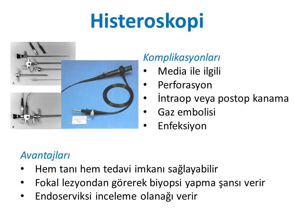 Komplikasyonları Media ile ilgili Perforasyon İntraop veya postop kanama Gaz embolisi Enfeksiyon Avantajları Hem tanı hem tedavi imkanı sağlayabilir Fokal lezyondan görerek biyopsi yapma şansı verir Endoserviksi inceleme olanağı verir Histeroskopi