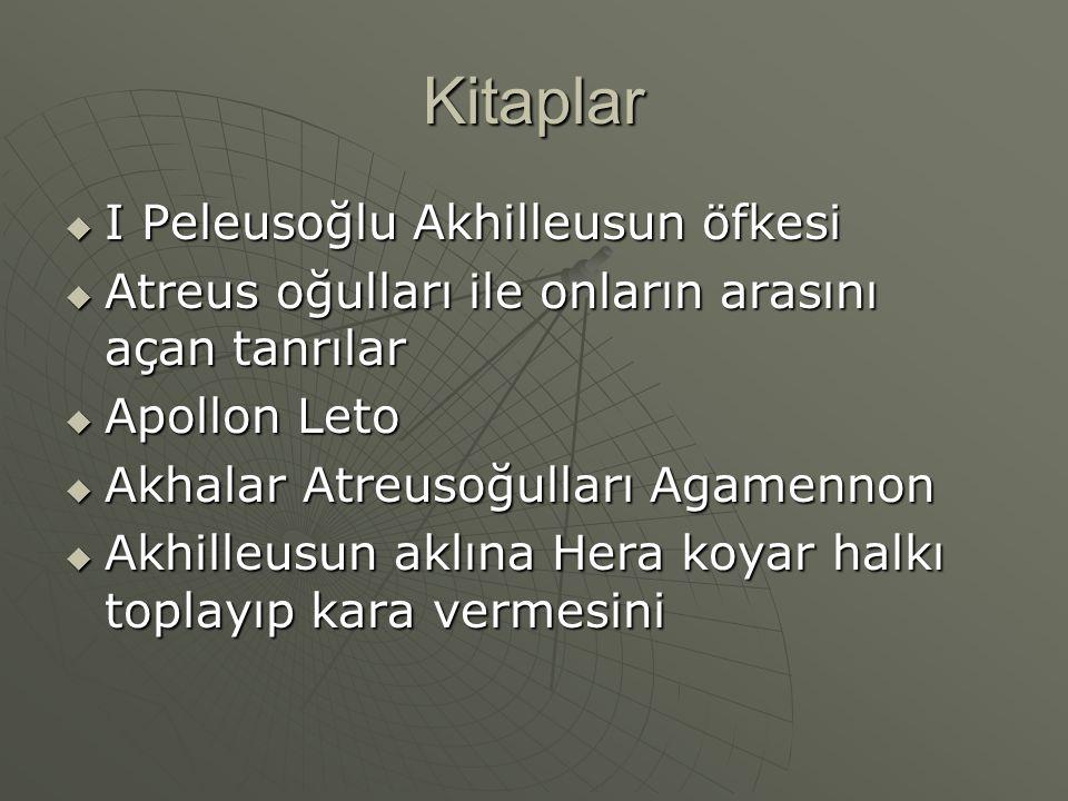Kitaplar  I Peleusoğlu Akhilleusun öfkesi  Atreus oğulları ile onların arasını açan tanrılar  Apollon Leto  Akhalar Atreusoğulları Agamennon  Akh