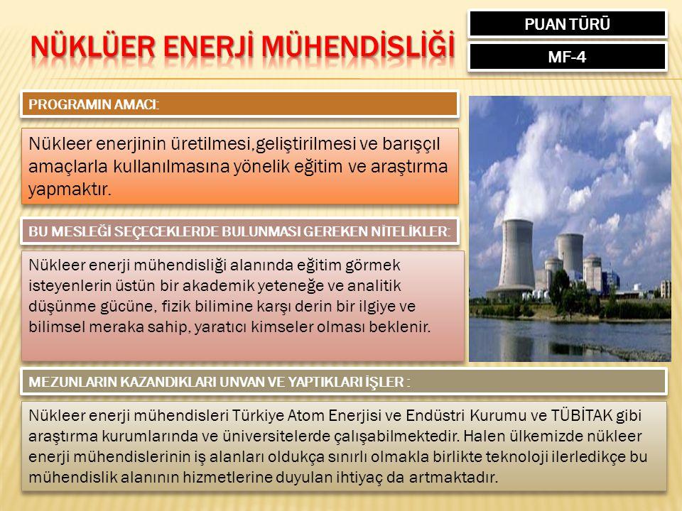 PUAN TÜRÜ MF-4 PROGRAMIN AMACI: Nükleer enerjinin üretilmesi,geliştirilmesi ve barışçıl amaçlarla kullanılmasına yönelik eğitim ve araştırma yapmaktır.