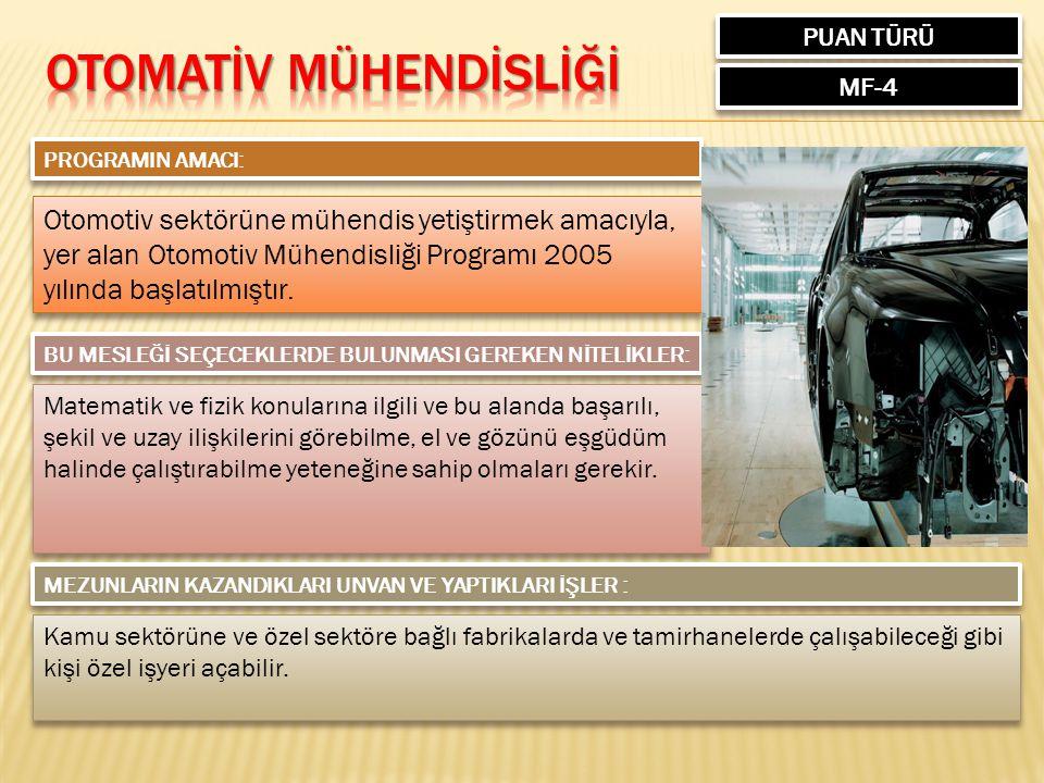 PUAN TÜRÜ MF-4 PROGRAMIN AMACI: Otomotiv sektörüne mühendis yetiştirmek amacıyla, yer alan Otomotiv Mühendisliği Programı 2005 yılında başlatılmıştır.