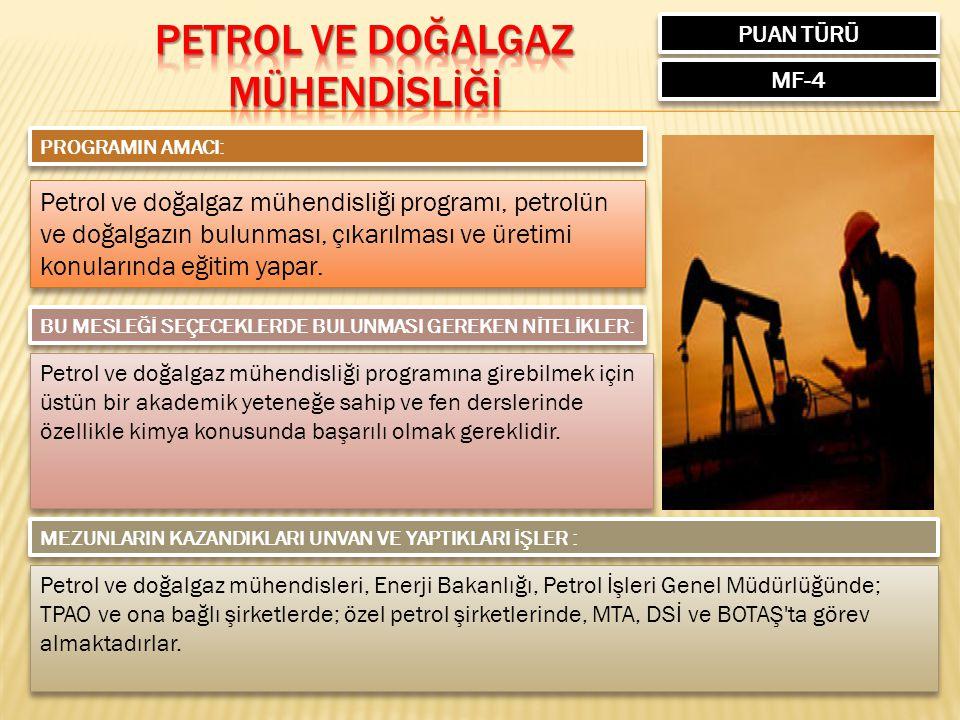 PUAN TÜRÜ MF-4 PROGRAMIN AMACI: Petrol ve doğalgaz mühendisliği programı, petrolün ve doğalgazın bulunması, çıkarılması ve üretimi konularında eğitim yapar.