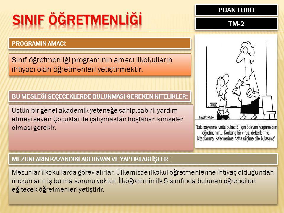 PUAN TÜRÜ TM-2 PROGRAMIN AMACI: Sınıf öğretmenliği programının amacı ilkokulların ihtiyacı olan öğretmenleri yetiştirmektir.