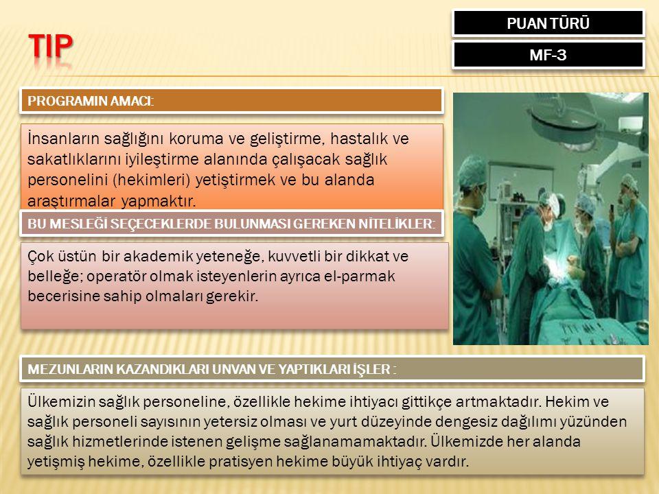 PUAN TÜRÜ MF-3 PROGRAMIN AMACI: İnsanların sağlığını koruma ve geliştirme, hastalık ve sakatlıklarını iyileştirme alanında çalışacak sağlık personelini (hekimleri) yetiştirmek ve bu alanda araştırmalar yapmaktır.