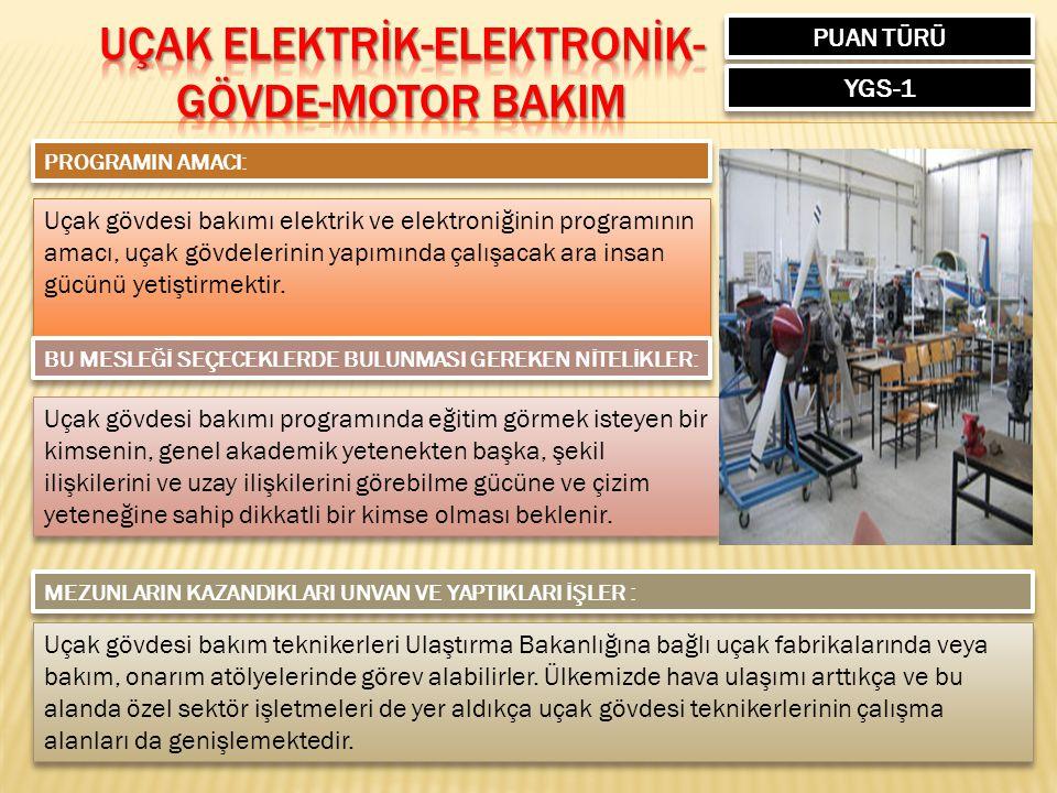 PUAN TÜRÜ YGS-1 PROGRAMIN AMACI: Uçak gövdesi bakımı elektrik ve elektroniğinin programının amacı, uçak gövdelerinin yapımında çalışacak ara insan gücünü yetiştirmektir.