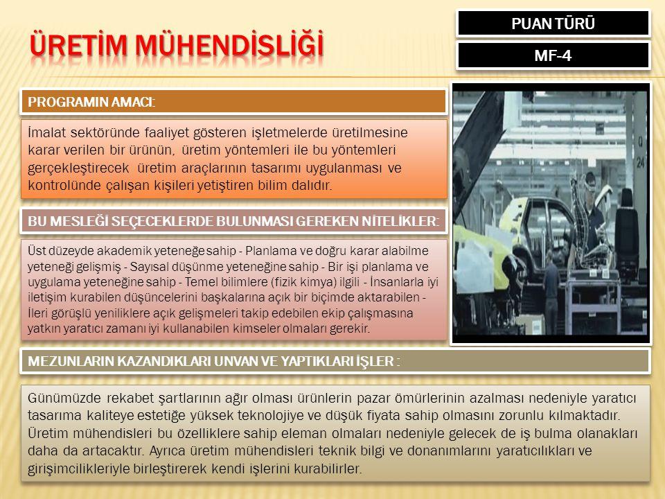 PUAN TÜRÜ MF-4 PROGRAMIN AMACI: İmalat sektöründe faaliyet gösteren işletmelerde üretilmesine karar verilen bir ürünün, üretim yöntemleri ile bu yöntemleri gerçekleştirecek üretim araçlarının tasarımı uygulanması ve kontrolünde çalışan kişileri yetiştiren bilim dalıdır.