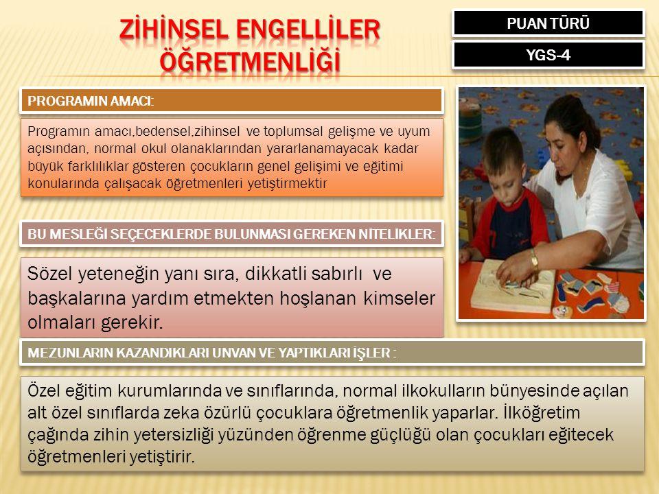 PUAN TÜRÜ YGS-4 PROGRAMIN AMACI: Programın amacı,bedensel,zihinsel ve toplumsal gelişme ve uyum açısından, normal okul olanaklarından yararlanamayacak kadar büyük farklılıklar gösteren çocukların genel gelişimi ve eğitimi konularında çalışacak öğretmenleri yetiştirmektir BU MESLEĞİ SEÇECEKLERDE BULUNMASI GEREKEN NİTELİKLER: Sözel yeteneğin yanı sıra, dikkatli sabırlı ve başkalarına yardım etmekten hoşlanan kimseler olmaları gerekir.
