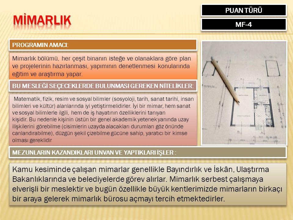 PUAN TÜRÜ MF-4 PROGRAMIN AMACI: Mimarlık bölümü, her çeşit binanın isteğe ve olanaklara göre plan ve projelerinin hazırlanması, yapımının denetlenmesi konularında eğitim ve araştırma yapar.