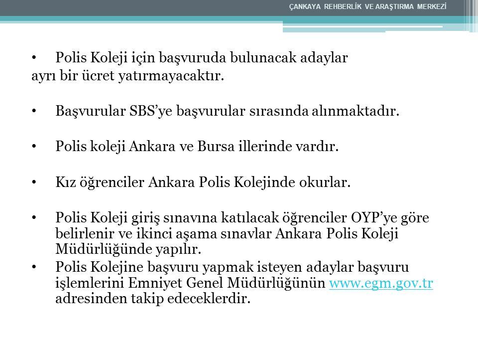 Polis Koleji için başvuruda bulunacak adaylar ayrı bir ücret yatırmayacaktır. Başvurular SBS'ye başvurular sırasında alınmaktadır. Polis koleji Ankara