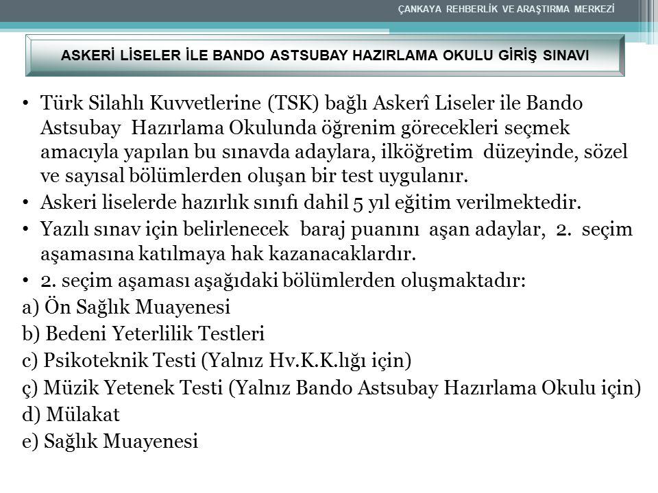 Türk Silahlı Kuvvetlerine (TSK) bağlı Askerî Liseler ile Bando Astsubay Hazırlama Okulunda öğrenim görecekleri seçmek amacıyla yapılan bu sınavda aday