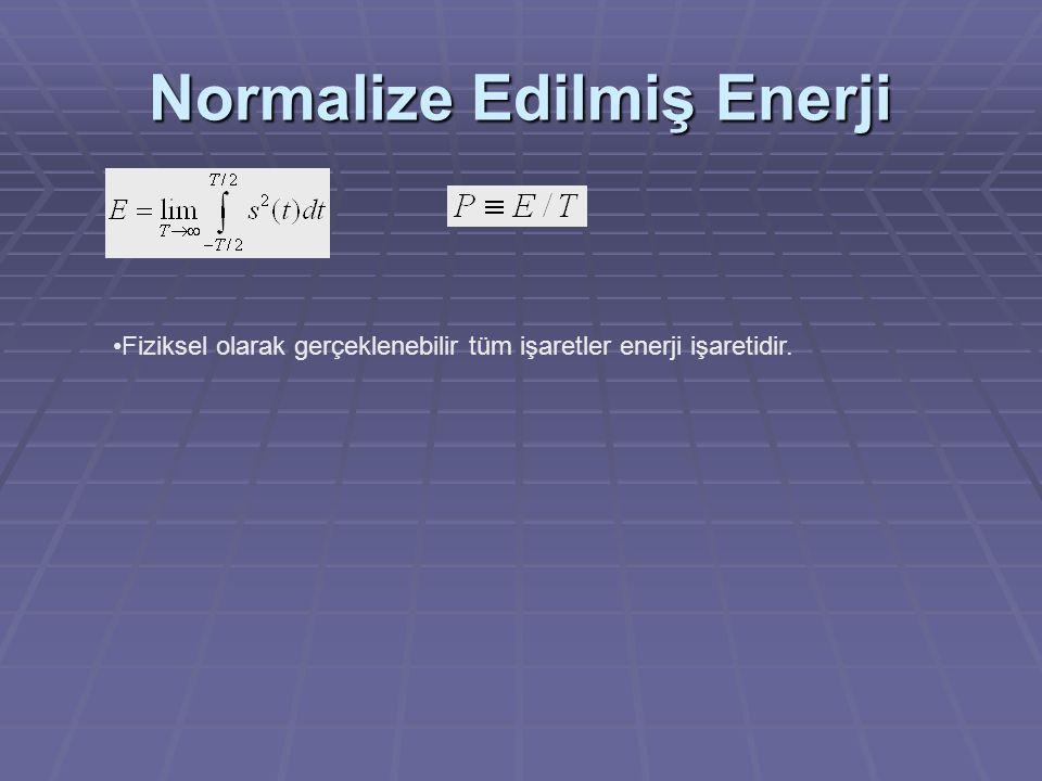 Normalize Edilmiş Enerji Fiziksel olarak gerçeklenebilir tüm işaretler enerji işaretidir.