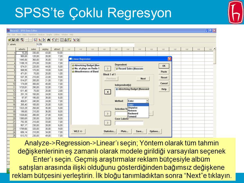 SLIDE 17 SPSS'te Çoklu Regresyon Analyze->Regression->Linear'ı seçin; Yöntem olarak tüm tahmin değişkenlerinin eş zamanlı olarak modele girildiği vars