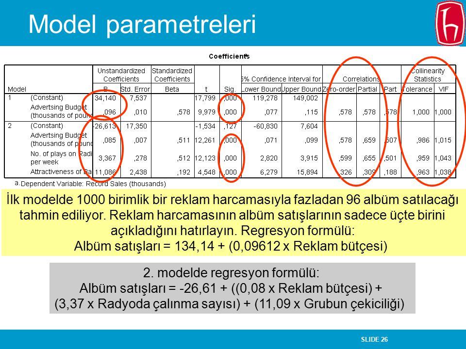 SLIDE 26 Model parametreleri İlk modelde 1000 birimlik bir reklam harcamasıyla fazladan 96 albüm satılacağı tahmin ediliyor. Reklam harcamasının albüm