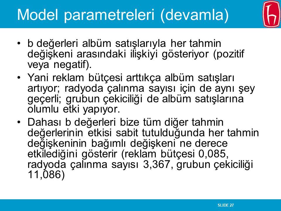 SLIDE 27 Model parametreleri (devamla) b değerleri albüm satışlarıyla her tahmin değişkeni arasındaki ilişkiyi gösteriyor (pozitif veya negatif). Yani