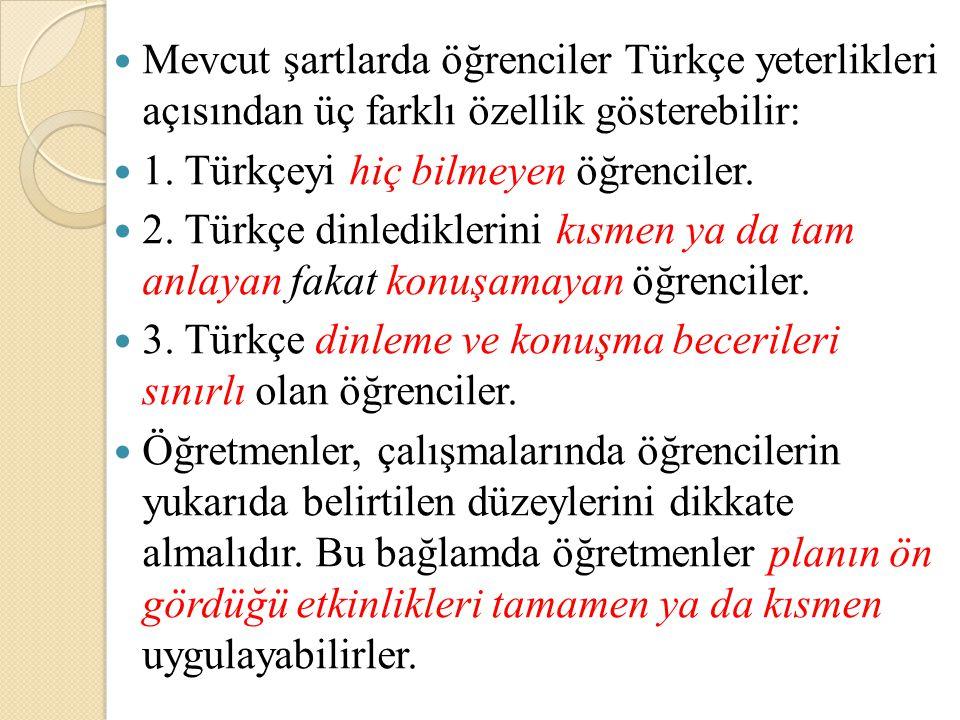 Mevcut şartlarda öğrenciler Türkçe yeterlikleri açısından üç farklı özellik gösterebilir: 1. Türkçeyi hiç bilmeyen öğrenciler. 2. Türkçe dinlediklerin