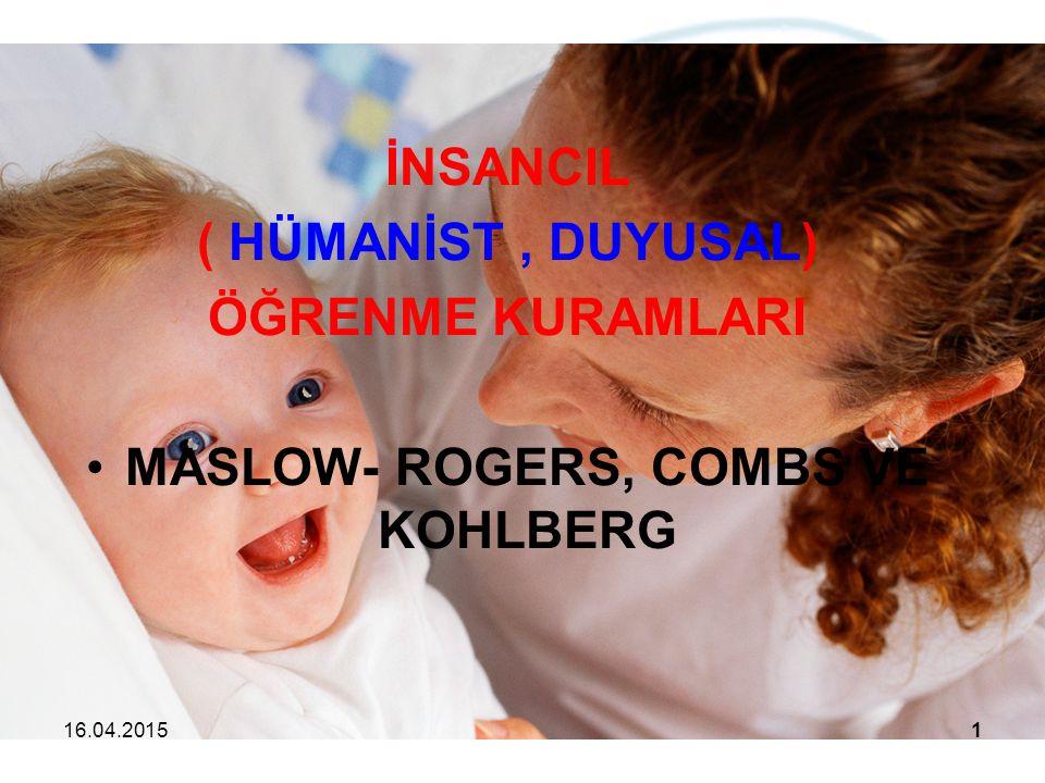 İNSANCIL ( HÜMANİST, DUYUSAL) ÖĞRENME KURAMLARI MASLOW- ROGERS, COMBS VE KOHLBERG 16.04.20151