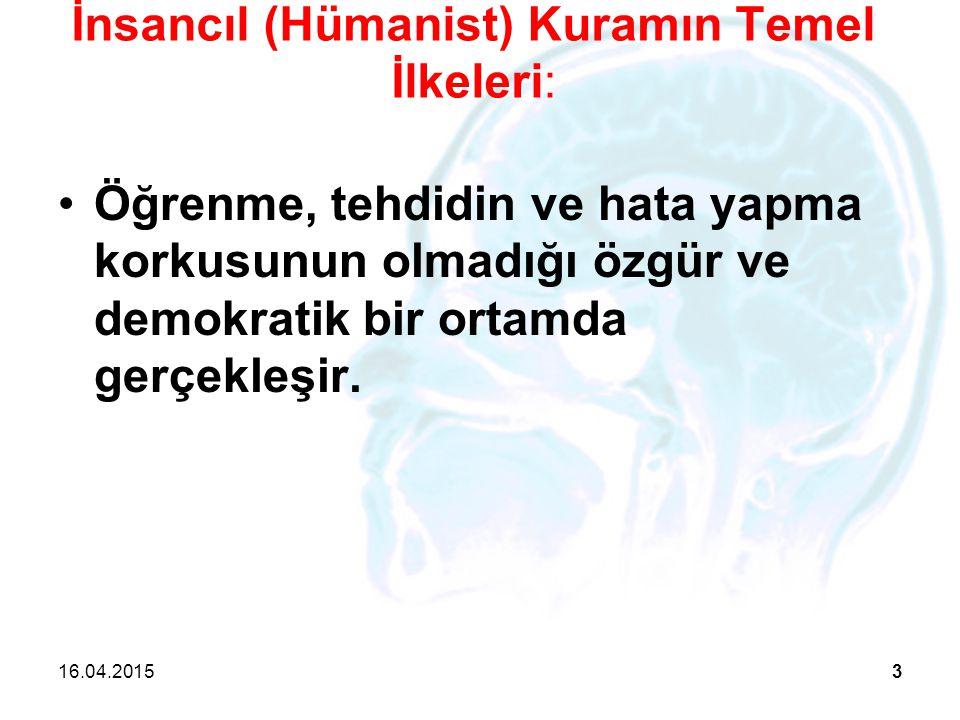 İnsancıl (Hümanist) Kuramın Temel İlkeleri: Öğrenme, tehdidin ve hata yapma korkusunun olmadığı özgür ve demokratik bir ortamda gerçekleşir. 16.04.201