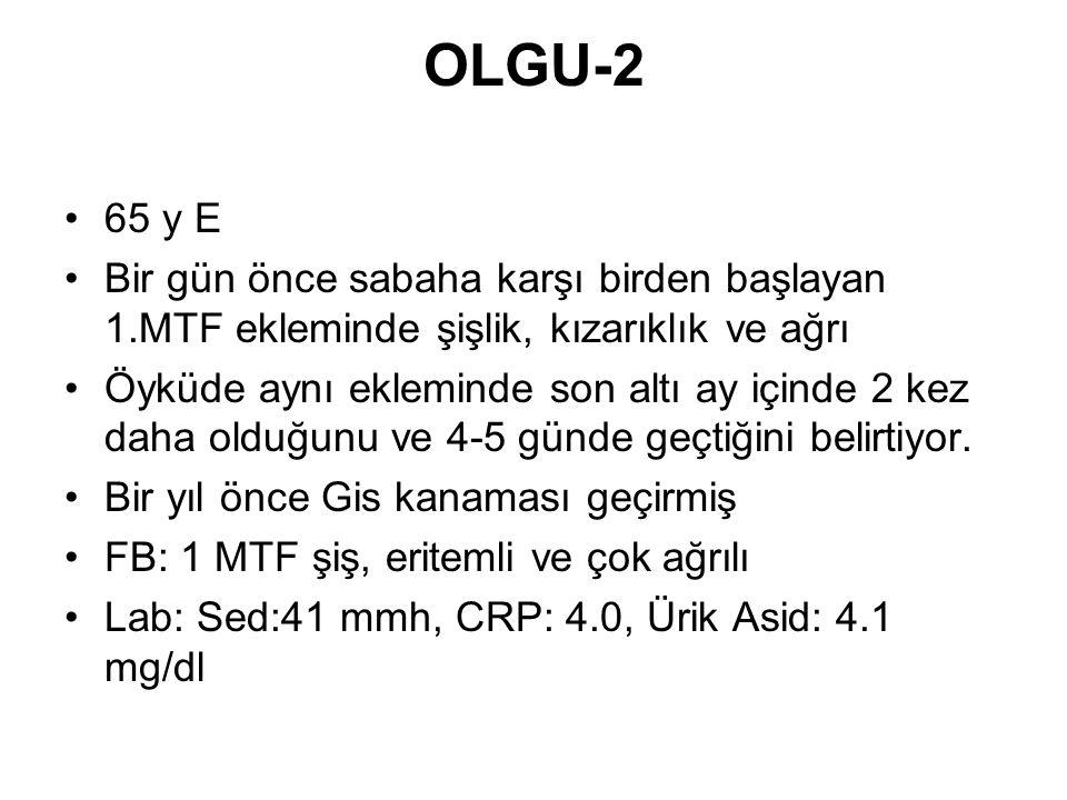 OLGU-2 65 y E Bir gün önce sabaha karşı birden başlayan 1.MTF ekleminde şişlik, kızarıklık ve ağrı Öyküde aynı ekleminde son altı ay içinde 2 kez daha
