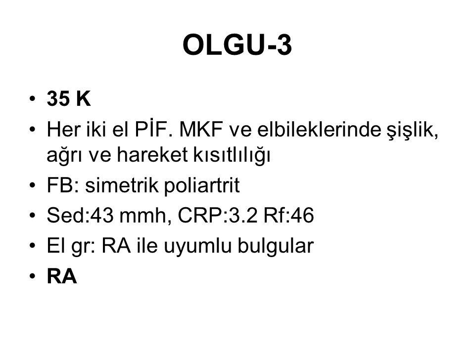 OLGU-3 35 K Her iki el PİF. MKF ve elbileklerinde şişlik, ağrı ve hareket kısıtlılığı FB: simetrik poliartrit Sed:43 mmh, CRP:3.2 Rf:46 El gr: RA ile