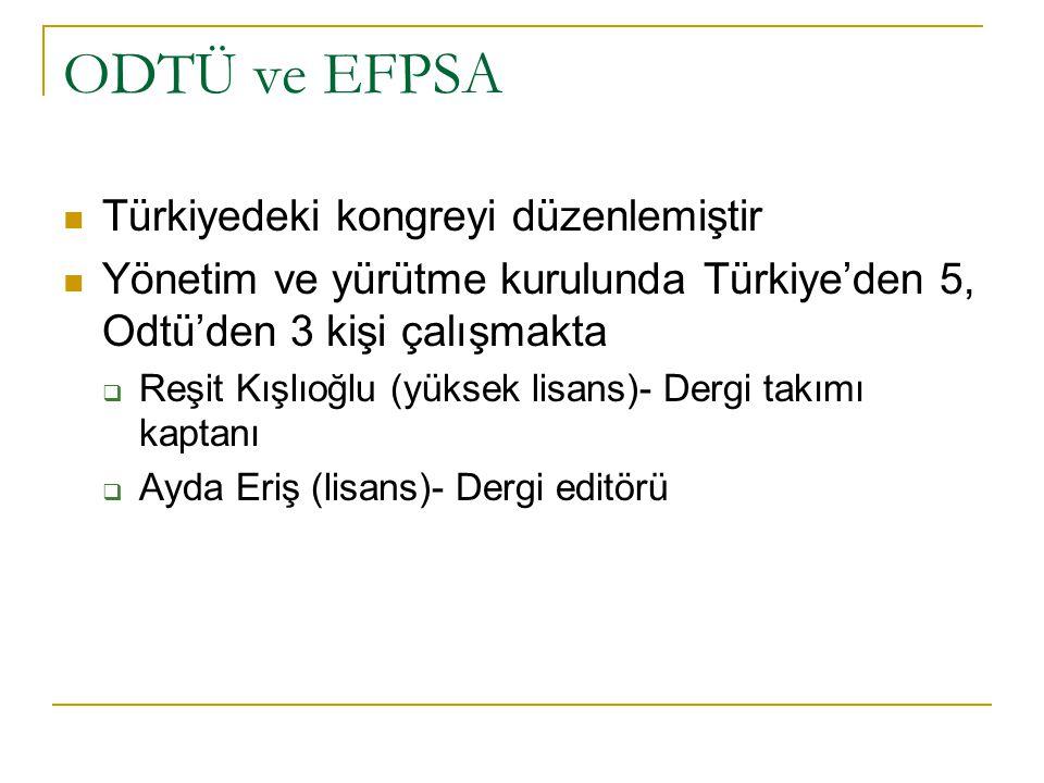 ODTÜ ve EFPSA Türkiyedeki kongreyi düzenlemiştir Yönetim ve yürütme kurulunda Türkiye'den 5, Odtü'den 3 kişi çalışmakta  Reşit Kışlıoğlu (yüksek lisa