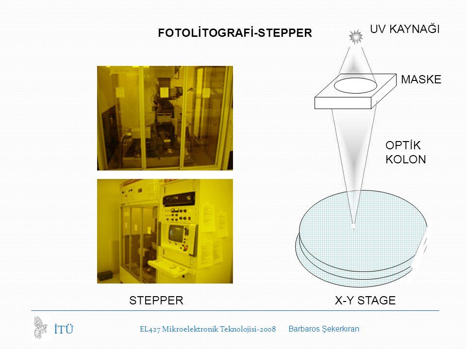 EL427 Mikroelektronik Teknolojisi-2008 Barbaros Şekerkıran İTÜ FOTOLİTOGRAFİ-STEPPER STEPPER MASKE X-Y STAGE OPTİK KOLON UV KAYNAĞI