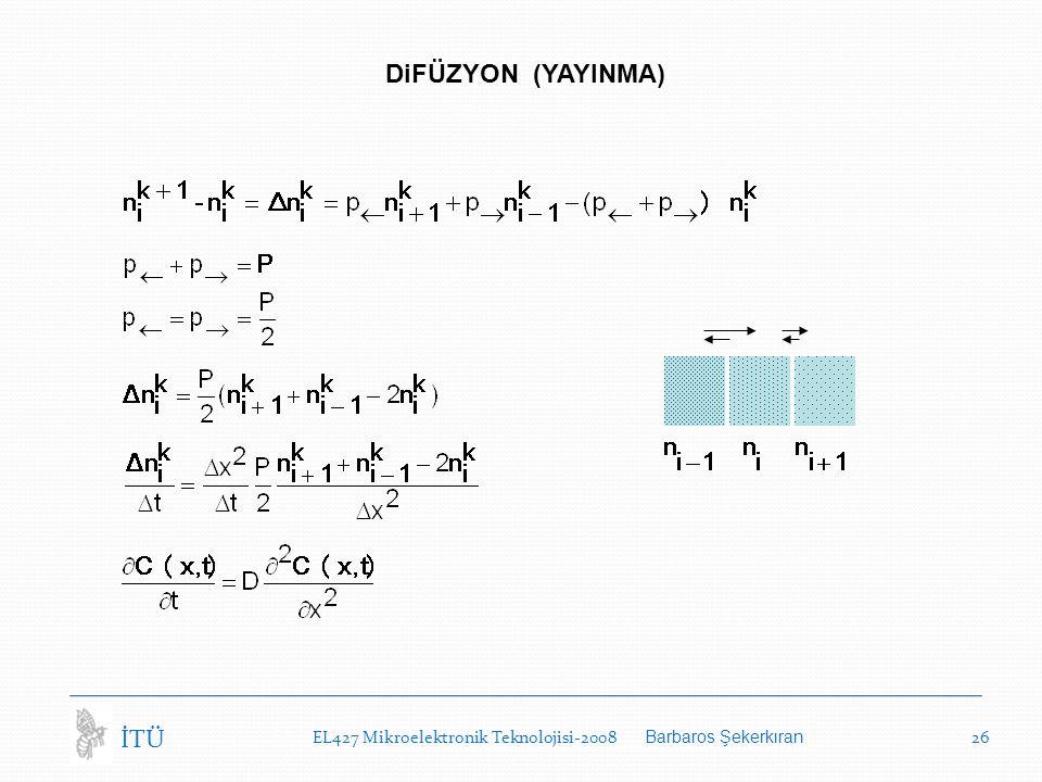 EL427 Mikroelektronik Teknolojisi-2008 Barbaros Şekerkıran 26 İTÜ DiFÜZYON (YAYINMA)