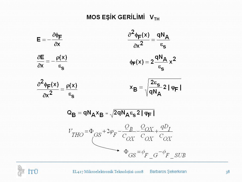 EL427 Mikroelektronik Teknolojisi-2008 Barbaros Şekerkıran 38 İTÜ MOS EŞİK GERİLİMİ V TH