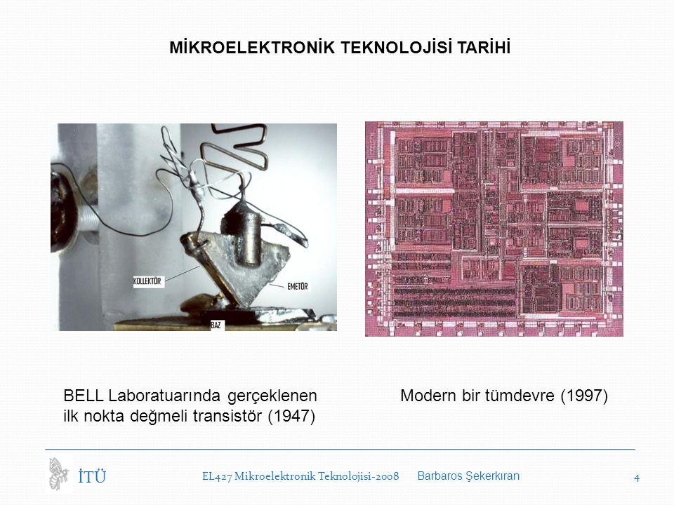 EL427 Mikroelektronik Teknolojisi-2008 Barbaros Şekerkıran 4 İTÜ MİKROELEKTRONİK TEKNOLOJİSİ TARİHİ BELL Laboratuarında gerçeklenen Modern bir tümdevre (1997) ilk nokta değmeli transistör (1947)