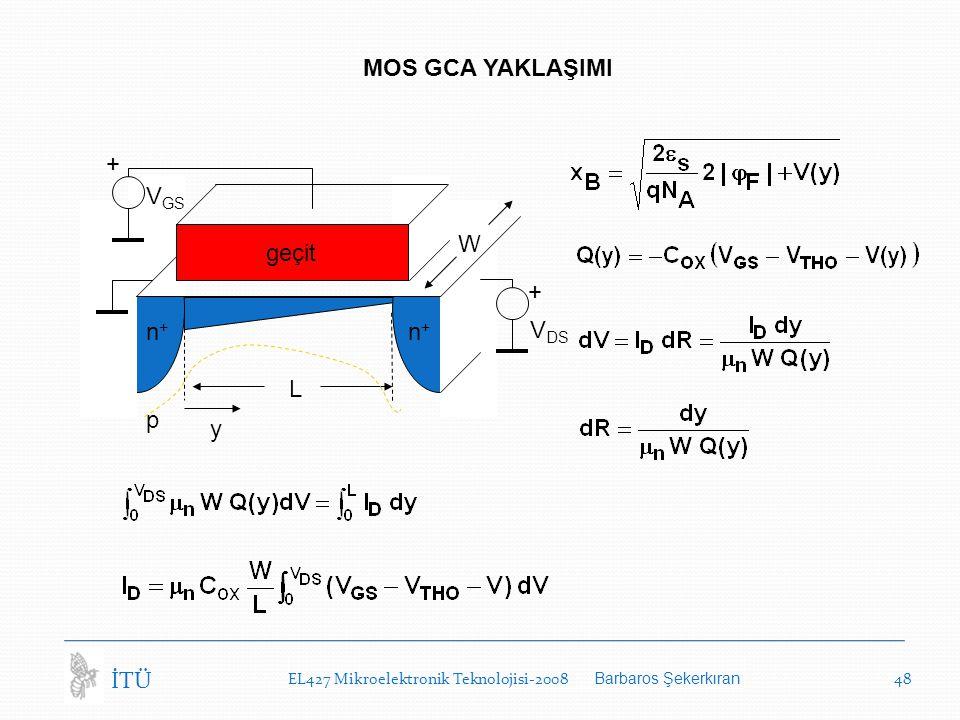 EL427 Mikroelektronik Teknolojisi-2008 Barbaros Şekerkıran 48 İTÜ MOS GCA YAKLAŞIMI p V DS y L W geçit n+n+ n+n+ + V GS +