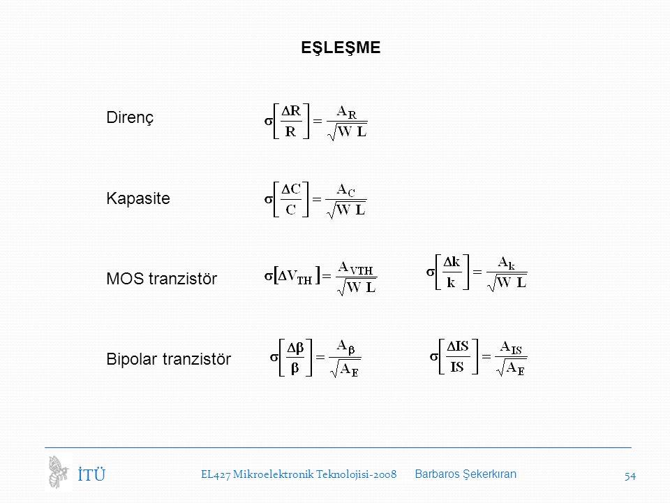 EL427 Mikroelektronik Teknolojisi-2008 Barbaros Şekerkıran 54 İTÜ EŞLEŞME Direnç Kapasite MOS tranzistör Bipolar tranzistör