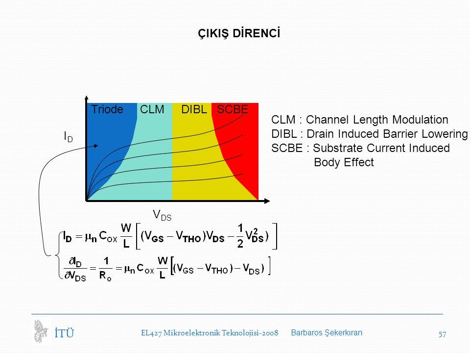 EL427 Mikroelektronik Teknolojisi-2008 Barbaros Şekerkıran 57 İTÜ ÇIKIŞ DİRENCİ V DS IDID Triode CLM DIBL SCBE CLM : Channel Length Modulation DIBL : Drain Induced Barrier Lowering SCBE : Substrate Current Induced Body Effect