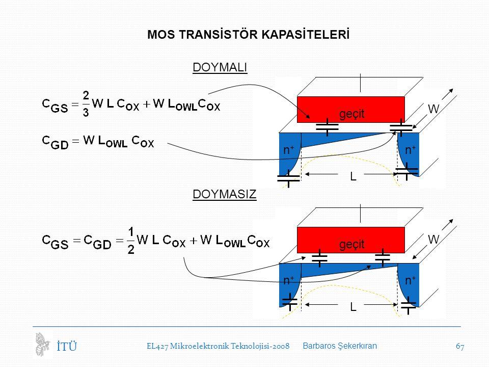 EL427 Mikroelektronik Teknolojisi-2008 Barbaros Şekerkıran 67 İTÜ MOS TRANSİSTÖR KAPASİTELERİ L W geçit n+n+ n+n+ L W n+n+ n+n+ DOYMALI DOYMASIZ