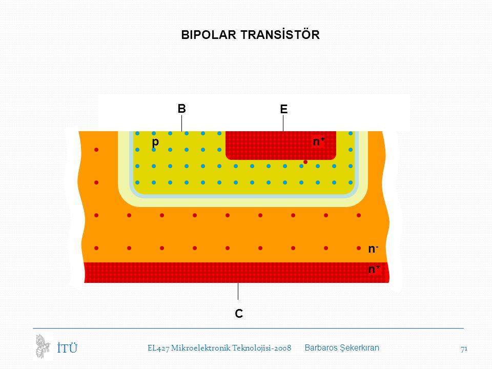 EL427 Mikroelektronik Teknolojisi-2008 Barbaros Şekerkıran 71 İTÜ BIPOLAR TRANSİSTÖR C n-n- n+n+ B E n+n+ p
