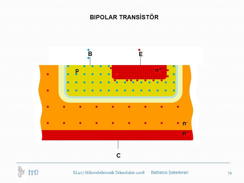 EL427 Mikroelektronik Teknolojisi-2008 Barbaros Şekerkıran 74 İTÜ BIPOLAR TRANSİSTÖR C n-n- n+n+ B E n+n+ p