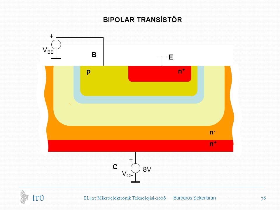 EL427 Mikroelektronik Teknolojisi-2008 Barbaros Şekerkıran 76 İTÜ BIPOLAR TRANSİSTÖR C n-n- n+n+ n+n+ p V CE + 8V B E V BE +